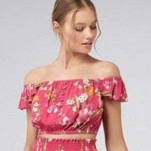 Forever New Button Front Ruffle Off Shoulder Crop